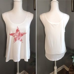 NWT Sundry White tank top with Red Star, size 2(M)
